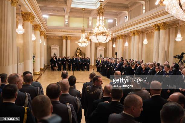 CASTLE HELSINKI UUSIMA FINLAND Finnish personalities waiting in the Presidential castle for the speech of the reconfirmed President of the Finnish...