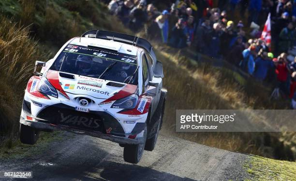 Finnish pilot Esapekka Lappi and co pilot Janne Ferm of Toyota Gazoo Racing WRT compete in their Toyota Yaris WRC in the Sweet Lamb stage of the...