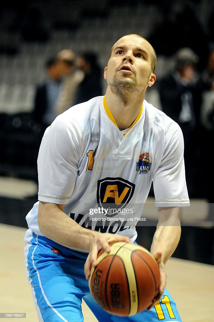 Finnish player Tukka Kotti of Vanoli during the warm-up before the LegaBasket Serie A match between Virtus SAIE3 Bologna and Vanoli Cremona at Futurshow Station on January 20, 2013 in Bologna, Italy.