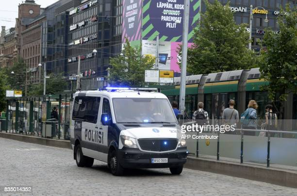 Finnish police patrols in Central Helsinki on August 18 2017 Finnish Police announced they will rise the readiness after stabbings in Turku / AFP...