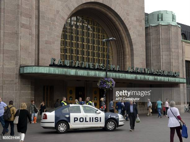 Finnish police patrols in front of the Cenral Railway Station in Helsinki on August 18 2017 Several people were stabbed in the southwestern Finnish...