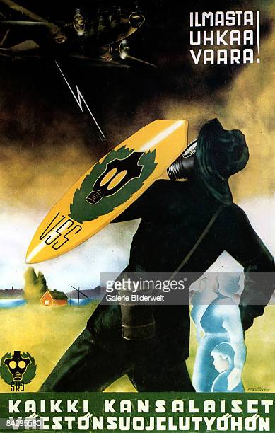 A Finnish poster from World War II depicts a VSS officer in a gas mask protecting citizens from an air attack 1938 The words 'Ilmasta Ukhaa Vaara...