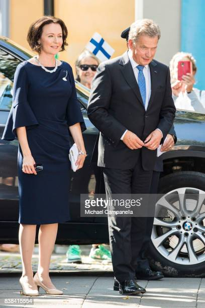 Finnish president Sauli Niinisto and wife Jenni Haukio attend celebrations marking Finnlands centenary at Kungstrdgarden on August 24 2017 in...