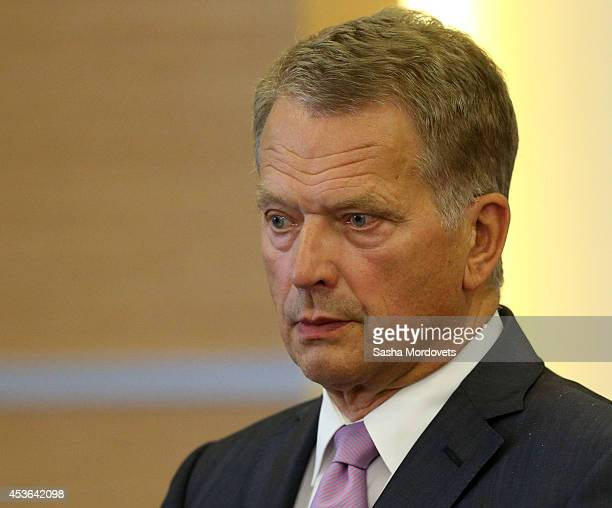 Finnish President Sauli Niinisto attends a joint press conference with Russian President Vladimir Putin at Bocharov Ruchey State Residence on August...