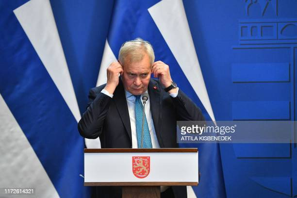 Finnish Prime Minister Antti Rinne addresses a press conference with his Hungarian counterpart in the Carmelite monastery of the prime minister's...