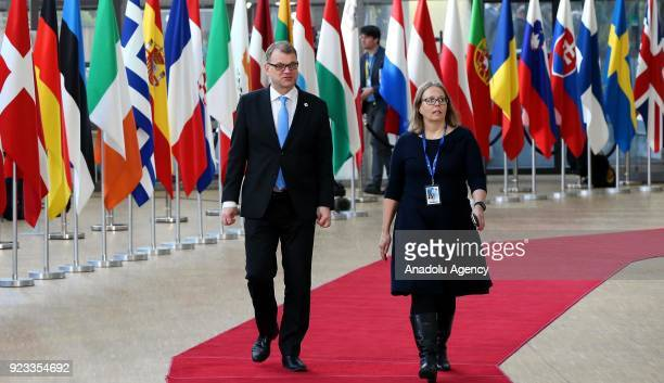 Finnish Prime Minister Juha Sipila attends the EU members' informal meeting of the 27 heads of state or government at European Council headquarters...