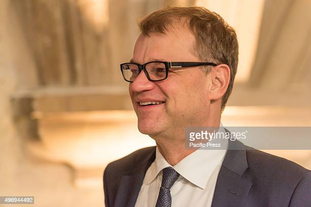 Finnish Prime Minister Juha Sipila pictured on the second day of the Valletta summit on migration during the Roundtable at the beginning of the...