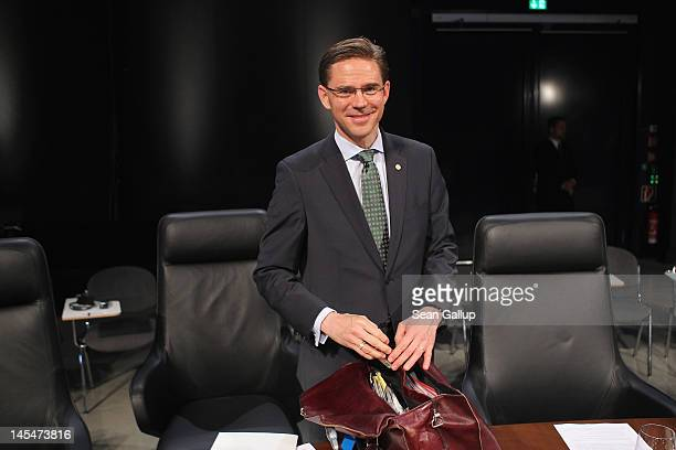Finnish Prime Minister Jyrki Katainen arrives at the opening of the 2012 Council of Baltic Sea States Summit at the Ozeaneum maritime museum on May...