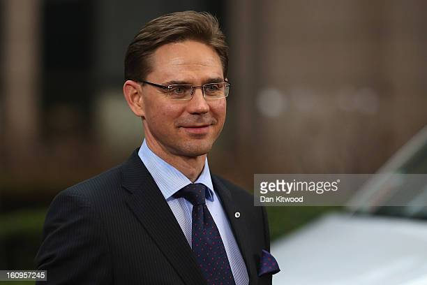 Finnish Prime Minister Jyrki Katainen arrives back at the headquarters of the Council of the European Union on February 8 2013 in Brussels Belgium EU...