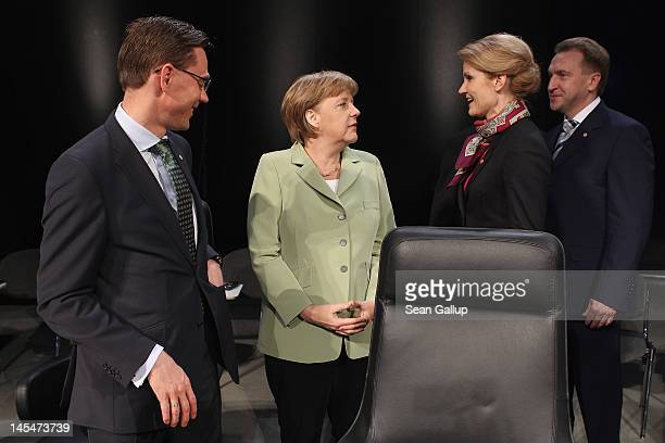 Finnish Prime Minister Jyrki Katainen German Chancellor Angela Merkel Danish Prime Minister Helle ThorningSchmidt and Russian First Deputy Prime...
