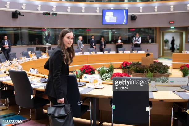 Finnish Prime Minister Sanna Marin at the European Union leaders yearend summit in Brussels