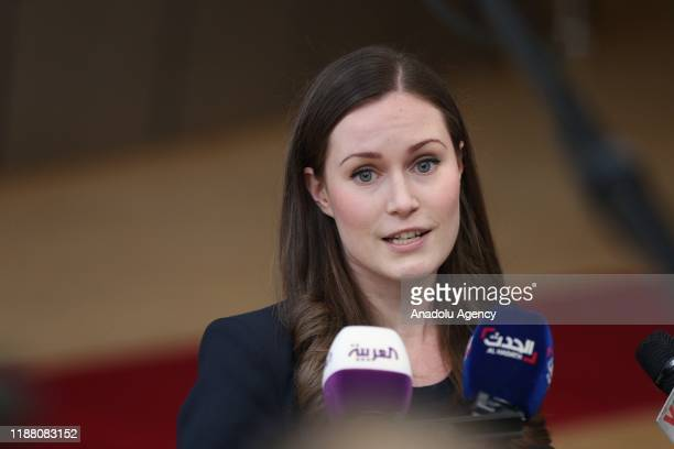 Finnish Prime Minister Sanna Marin holds a press conference before attending EU Leaders' Summit in Brussels Belgium on December 12 2019