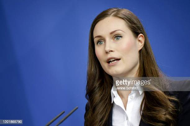 Finnish Prime Minister Sanna Marin is pictured during a press conference on February 19 2020 in Berlin Germany