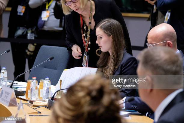 Finnish Prime Minister Sanna Mirella Marin attends the first of a two-day summit of European Union leaders on December 12, 2019 in Brussels, Belgium....