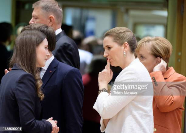 Finnish Prime Minister Sanna Mirella Marin is talking with the Danish Prime Minister Mette Frederiksen and the German Chancellor Angela Merkel on the...