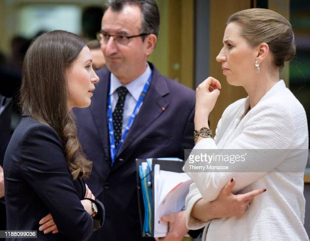 Finnish Prime Minister Sanna Mirella Marin is talking with the Danish Prime Minister Mette Frederiksen on the first of a twoday summit of European...