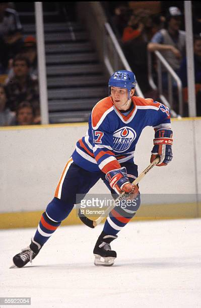 Finnish professional hockey player Jari Kurri of the Edmonton Oilers in action during an away game 1980s