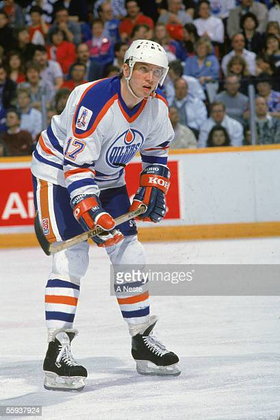 Finnish professional hockey player Jari Kurri of the Edmonton Oilers in action during a home game at the Edmonton Coliseum Edmonton Alberta Canada...