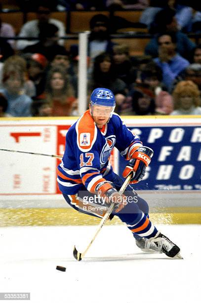 Finnish professional hockey player Jari Kurri right wing for the Edmonton Oilers in action during a road game 1980s