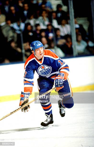 Finnish professional hockey player Jari Kurri right wing for the Edmonton Oilers on the ice during an away game 1980s