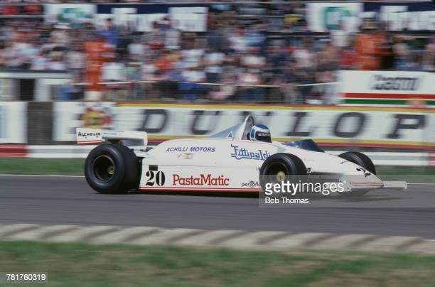 Finnish racing driver Keke Rosberg drives the Fittipaldi Automotive Fittipaldi F8C Cosworth V8 in the 1981 British Grand Prix at Silverstone circuit...