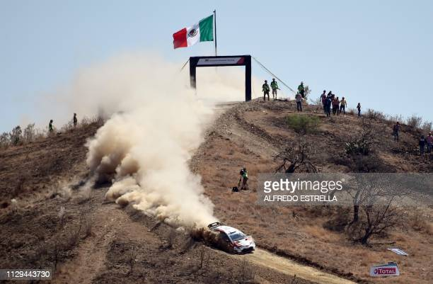 TOPSHOT Finnish rally driver JariMatti Latvala and codriver Miikka Anttila of Toyota Gazoo Racing WRC compete during the second stage of the FIA...