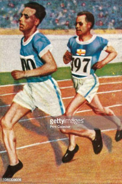 Finnish runners Ville Ritola and Paavo Nurmi, 1928. Ritola won five Olympic gold medals and three Olympic silver medals. Nurmi won nine gold and...
