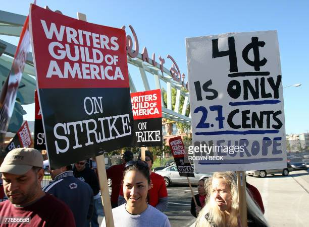 Finnish screenplay writer and book auther Katri Manninen walks the picket line in front of Walt Disney studio in Burbank California 12 November 2007...