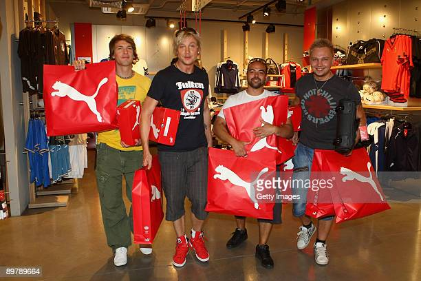Finnish sensation Sunrise Avenue pays a visit to the PUMA Flagship store at Tauentzienstrasse 18 to be outfitted ahead of their concert at the...