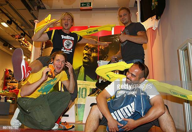 Finnish sensation Sunrise Avenue pose with the Usain 'Bolt Arms' during a visit to the PUMA Flagship store at Tauentzienstrasse 18 to be outfitted...