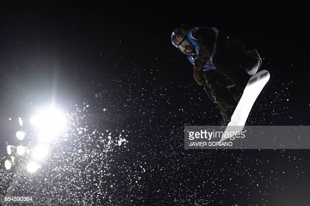 TOPSHOT Finnish snowboarder Roope Tonter competes during the men's Big Air finals at the FIS Snowboard and Freestyle Ski World Championships 2017 in...