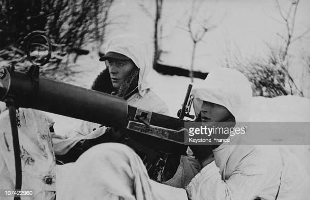 Finnish Soldiers And Their Anti Aircraft Machine Gun In Soviet Finnish War