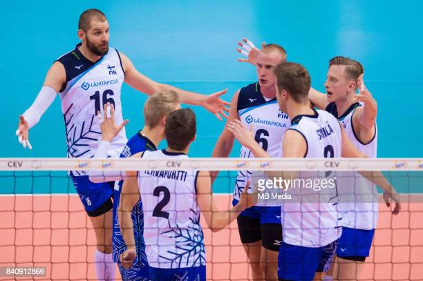 Finnish team celebrates a point during the European Men's Volleyball Championships 2017 playoff match between Bulgaria and Finland on August 30 2017...