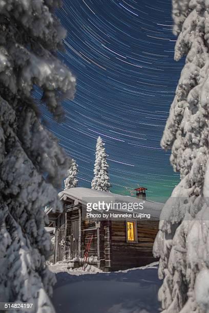Finnish Wilderness cabin on a clear winter's night