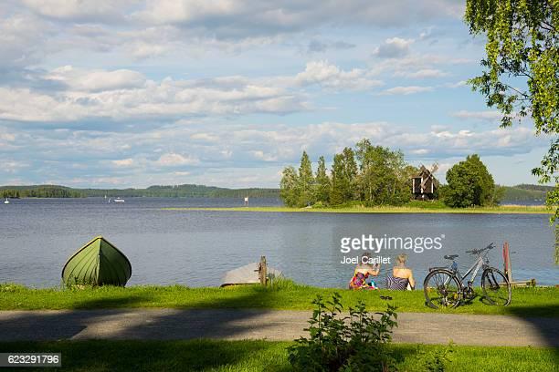 Finnish women beside Lake Kallavesi in Kuopio, Finland