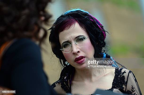 Finnish writer Sofi Oksanen waits for her presentation at the 21th International Book Festival held in the Millenaris Culture Center in Budapest on...