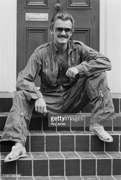 Finnishborn Swedish fashion designer and fashion icon Sighsten Herrgard wearing jumpsuit and jelly sandals UK 27th August 1975