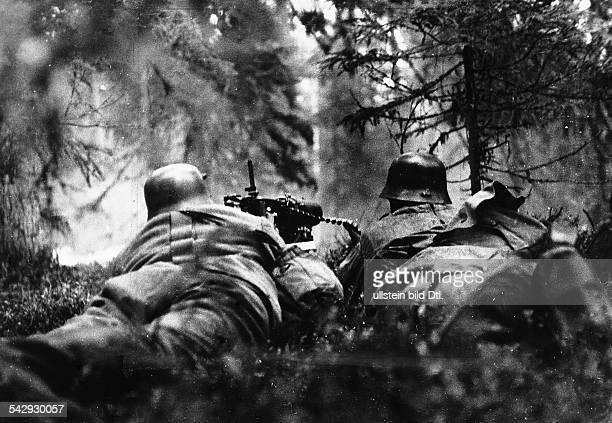 2WK Finnland Finnische MG Stellung in den Wäldern KareliensFrühjahr7Sommer 1942Foto Artur Grimm
