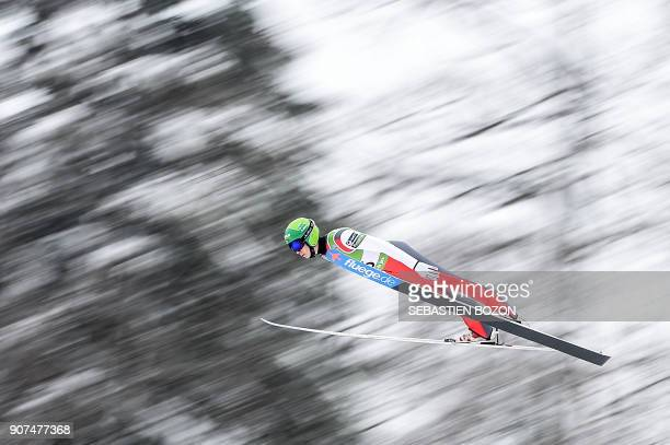 Finnland's Eero Hirvonen competes during the Men's Gundersen of the FIS Nordic Combined World Cup in ChauxNeuve eastern France on January 20 2018 /...
