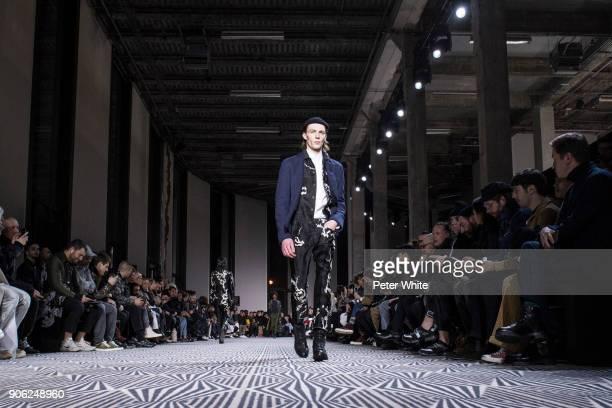 Finnlay Davis walks the runway during the Haider Ackermann Menswear Fall/Winter 20182019 show as part of Paris Fashion Week on January 17 2018 in...