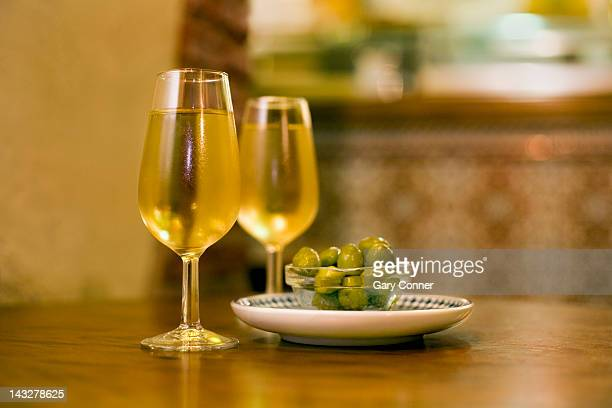 Fino sherry and olives