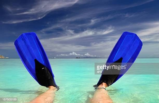 Fins infront of a tropical Paradise Beach (XXXL)