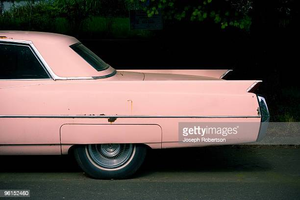 fins of pink classic car - vintage car stock pictures, royalty-free photos & images