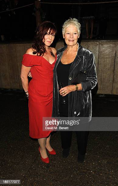Finty Williams and Dame Judi Dench arrive at the Shakespeare's Globe Gala Dinner hosted by Zoe Wanamaker on October 17, 2013 in London, England.