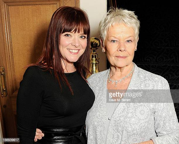 Finty Williams and Dame Judi Dench attend a drinks reception at the 58th London Evening Standard Theatre Awards in association with Burberry at The...