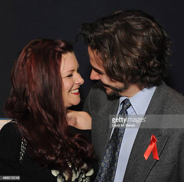 Finty Williams and Joseph Timms attend the Terrence Higgins Trust auction at Christie's King Street on March 12 2015 in London England