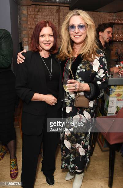 Finty Williams and TracyAnn Oberman attend the press night performance of The Last Temptation Of Boris Johnson at The Park Theatre on May 13 2019 in...