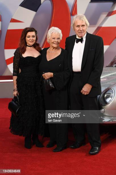 """Finty Williams, Dame Judi Dench and guest attends the World Premiere of """"NO TIME TO DIE"""" at the Royal Albert Hall on September 28, 2021 in London,..."""
