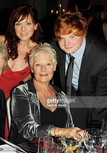 Finty Williams, Dame Judi Dench and Sam Williams attend the Shakespeare's Globe Gala Dinner hosted by Zoe Wanamaker on October 17, 2013 in London,...