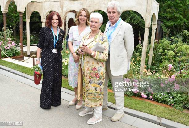 Finty Williams Jo Thompson Dame Judy Dench and David Mills attend the RHS Chelsea Flower Show 2019 press day on May 20 2019 in London England